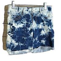 Jordache Girls size 7 Tie Dye 5 Pocket Denim Shorts Blue cuffed Zip up stretch