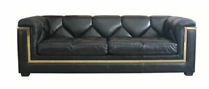 Handmade Gatsby 3 Seater Vintage Nappa Black Real Leather Sofa
