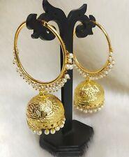 Style Pakistani Golden Jhumki 2p Earring Ethnic Indian Bollywood Pearl Big Bali