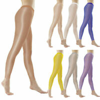 Damen Hochglanz Shiny Leggings Transparent Sheer Skinny Lange Pants Hose Leggins