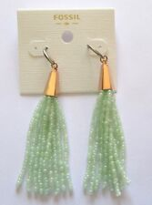 Fossil Seed Bead Earrings -rose gold color -mint green dangly beads- french wire