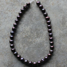 10mm Fresh Water Round Pearl Metal Purple Beads Necklace, for crafting & jewelry