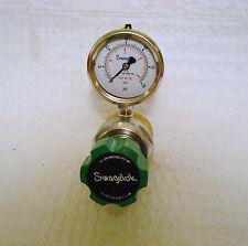 SWAGELOK Brass Pressure Regulator w / Gauge, KPRDERB411A200GO, 0-50psig output