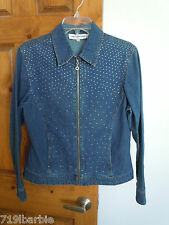 Cathy Daniels women's long sleeve zip-front accented denim jacket shirt size S
