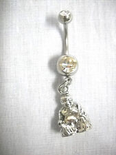 NEW PEWTER 3D BUDDHA w ROBE ON CHARM CZ BAR NAVEL BAR BELLY BUTTON RING BUDDA