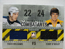 Terry O`Reilly Tiger Williams 2011/12 Combatants Game Jersey Card Bruins Leafs