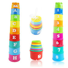 9X Baby Children Kids Educational Toy Figures Letter Bear Stack Cup Set Optimal
