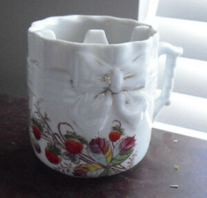 Antique Painted Flowers with Bow Mustache Shaving Mug Look