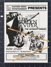 THE GOLDEN VIPER__Orig. 1984 Trade Print AD / advert__EARTHA KITT__CLINT WALKER
