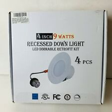 "4 PCS LED Downlight 9W Dimmable 4"" Trim Smooth Recessed Retrofit Ceiling Light"