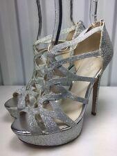 Aldo Women's Silver Platform Sparkle Prom Shoes Size 5 New!