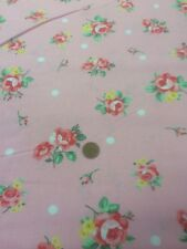 100% Cotton Quilting craft Fabric Pink Roses On Pink By Lecien Japan