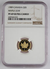 Canada 1989 Maple Leaf $5 1/10 Oz 9999 Gold Proof Coin NGC PF69 Ultra Cameo GEM