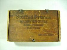 ANTIQUE ADVERTISEMENT: DOVETAILED WOOD BOX: STUFFED PRUNES WIESBADEN STYLE