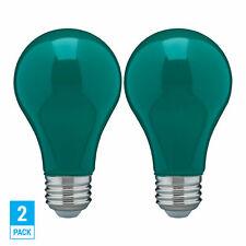 2 Pack CERAMIC GREEN LED Bulb A19 Medium E26 8W 60 Watt Equivalent Damp Location