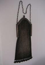 Vintage SILVER Mesh Purse Art Deco Nouveau with SAPPHIRE Cabochon Catch c1920's