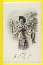 cpa FRANCE 1er AVRIL POISSONS d'Avril APRIL FOOL DAY Pêcheuse Fisherwoman