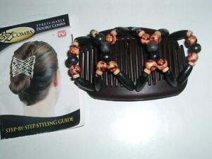 As on  TV EZ Combs Hairstyles Double Combs Ebony and Floral Wood w Book