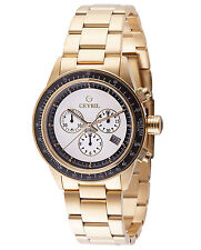 Gevril Mens 2115 Tribeca Chronograph 'Paul Newman' White Dial Gold IP Date Watch