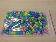Pony Beads - 8x6mm Plastic Barrel - 200pcs -  Mixed (B) - NEW - AUS SELLER
