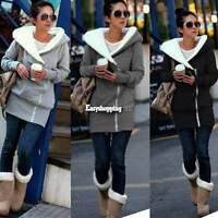 Women Thicken Fleece Hooded Hoodie Sweatshirt Coat Jacket Casual Outerwear M-XXL