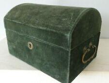 Vintage Green Velvet Dome Chest Jewellery Trinket Box 18 x 12 cms