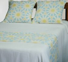 Queen/King Bed Runner Cover Abstract Pale Blue Yellow Lemon White Bedding Quilt