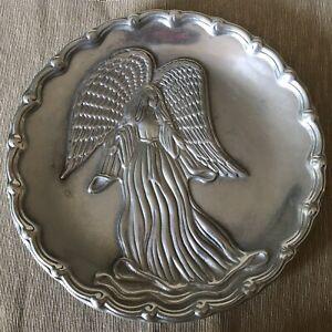 "Pewter Star Angel Wilton Armetale 10 1/2"" Plate #205315 Metal Scalloped Edge RWP"