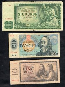 Set of 3 Banknotes From Czechoslovakia Good
