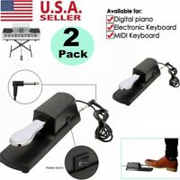 2X Universal Sustain Pedals Foot For Yamaha Casio Korg Electric Piano Keyboard