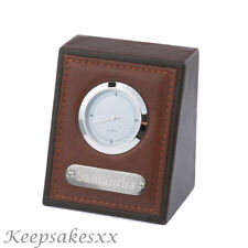 Personalised DESK or OFFICE Clock in stitched brown LEATHER