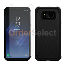 Hybrid Rubber Case+LCD HD Screen Protector for Android Samsung Galaxy S8 Black