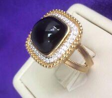 7.70 Tcw  Rope Motif  Black Agate ( Onyx) Cabochon & Diamonds Ring in 14k gold