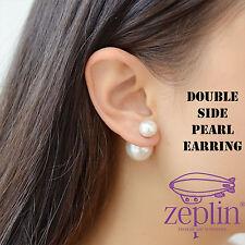 White Double Side Pearl Earring-Pair Stud Earrings -UK SELLER FREE P&P JEWELLERY