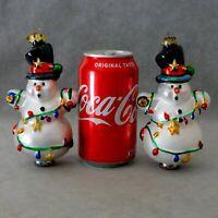 "Christmas Ornament Glass OWC OLD WORLD CHRISTMAS SNOWMAN 5"" Lot of 2 USA SELLER"