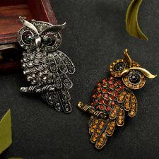 Unisex Retro Owl Brooch Stunning Austrian Crystal Stylish Tone Pin Broach ONE