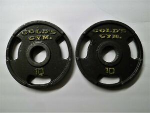 """10 lb Golds Gym 2"""" Olympic Grip Weight Plates Set Of 2 - 20 lbs Total"""