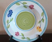 Dansk Large Rim Soup Bowl Dan 66 Blue Band Pink Yellow Blue Floral