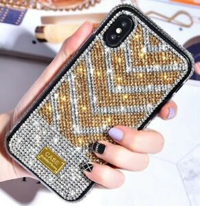 IPHONE 6/6S/7/8/11/MAX/PLUS/PRO/X/XR/XS MOBILE PHONE CASE GOLD/SILVER RHINESTONE