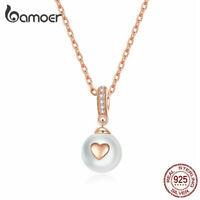 BAMOER S925 Sterling silver Rose Love Necklace CZ & Pearl Pendant Women Jewelry