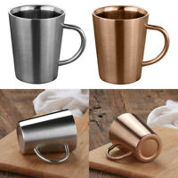 2x Stainless Double Walled Insulated Water Cup Coffee Mug with Handle
