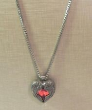 """Chain Silver Tone Necklace Valentine'S Day 25"""" Red Heart Crystal Pendant Box"""