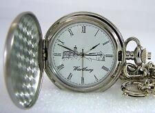 Taschenuhr mit Kette Motiv Wartburg Lutherrose pocket watch Ø47mm
