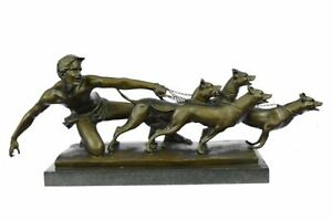 Handcrafted Man Pulling 3 Dogs Bronze Sculpture Museum Quality Artwork Figurine