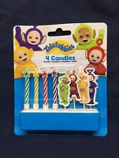 Teletubbies 4 Candles Cake Toppers Picks Cutouts Birthday Decoration Cupcake
