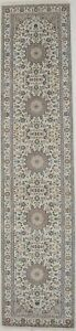 Hand-Knotted Oriental Runner Rug 3X12 Classic Floral Nain Decor Hallway Carpet