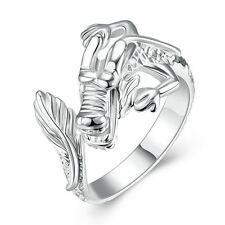 925 Silver Plt Adjustable Chinese Dragon Ring Statement Celestial Thumb Men D