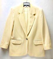 Alfred Dunner Wool Blazer Pale Yellow Buttercream Womens Small 8