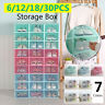 6-30pcs Foldable Shoe Box Storage Plastic Transparent Case Stackable Organize