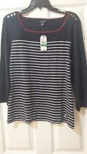 NAUTICA Women's 100% Cotton Stripe Navy/White Sweater Top. Size L. $59.50. NWT